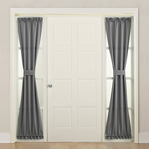 "Sun Zero 50218 Barrow Front Door Sidelight Curtain Panel with Tie Back, 26"" x 72"", Gray"