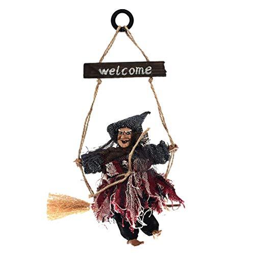TOYANDONA Bruja Colgante Decoraciones Colgantes de Halloween Brujas voladoras casa embrujada Accesorios para Colgar Puerta decoración de Pared