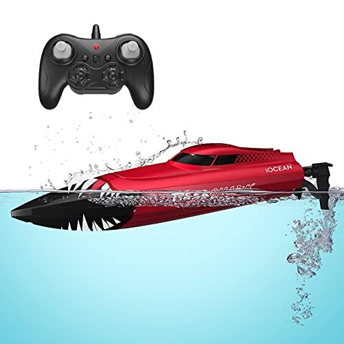 Barco RC, Barco de con Control Remoto para Piscinas y Lagos, Barco Teledirigido Alta Velocidad 2.4 GHz 30 Minutos 150 Metros, Juguetes para Niños y Adultos al Aire Libre (Rojo)