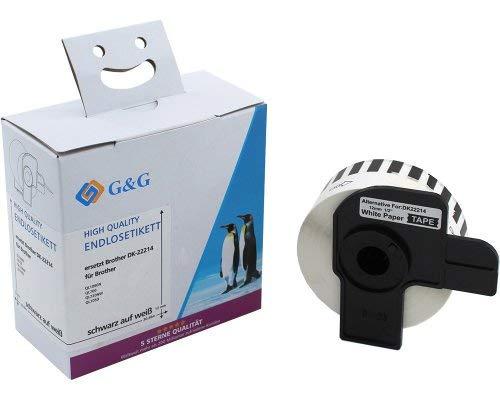 G&G endlos Etiketten kompatibel zu Brother DK-22214 (12mm x 30,48m) schwarz auf wei√ü