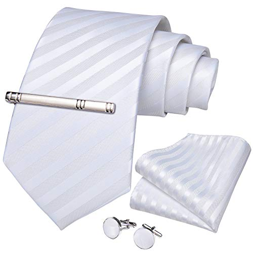 DiBanGu メンズ 結婚式 ネクタイ シルク 白ネクタイ チーフ セット フォーマル ネクタイ ハンカチ