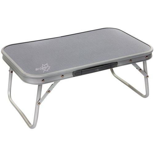 Aluminium Laptoptisch Zusammenklappbar. Platzsparend. Mehrzwecktisch für Indoor und Outdoor zum Zelten, Betttisch, Campingtisch Hochwertiger Klapptisch mit Griff, 56x34cm Tischbeine klappbar, Grau