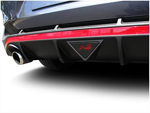 2er Set Folie Zuschnitt für Nebelschlussleuchte mit Ausschnitt in Logo Form Emblem Passgenau Selbstklebend Auto Aufkleber Schwarz (K081 Fastback)