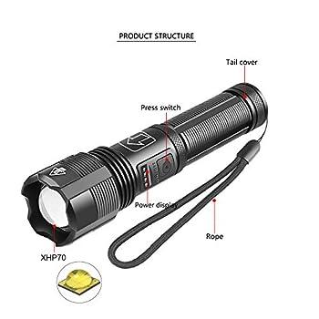 Lampe Torche LED Ultra Puissante 6000 Lumens, WESLITE XHP70.2 Lampe Torche Rechargeable Lampe de Poche Étanche avec Affichage de Puissance 5 Modes Zoomable pour Camping Randonnée Pêche de Nuit