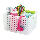iDesign Spa Plastic Storage Organizer Basket with Handle for Bathroom, Health, Cosmetics, Hair Supplies and Beauty Products, 11.2' x 14.3' x 8.1' - Frost White