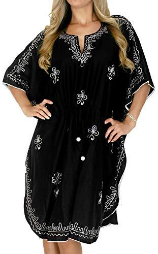 LA LEELA Frauen Damen Rayon Kaftan Tunika Bestickt Kimono freie Größe kurz Midi Party Kleid für Loungewear Urlaub Nachtwäsche Strand jeden Tag Kleider Schwarz_P263 42 (L) - 52 (4XL)
