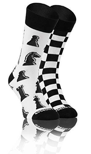 Sesto Senso Calcetines Divertidos Algodón Mujer Hombre Locos Coloridos Funny Sock A Cuadros 39-42 Ajedrez