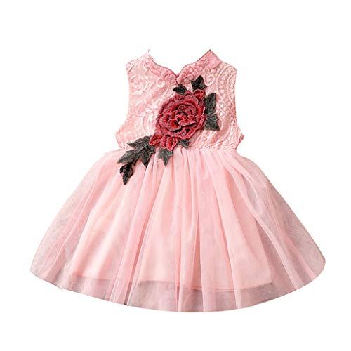 Vestido de niña Janly para niños de 0 a 10 años, con encaje rosa cheongsam, estilo chino, tul, rosa, 6-7 Años