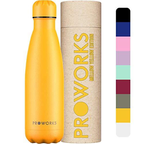 Proworks Botellas de Agua Deportiva de Acero Inoxidable | Cantimplora Termo con Doble Aislamiento para 12 Horas de Bebida Caliente y 24 Horas de Bebida Fría - Libre de BPA - 500ml – Amarillo Suave