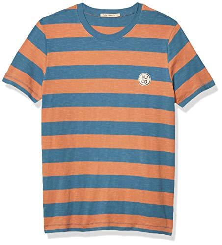Nudie Jeans Unisex-Erwachsene Roy Stripe Slub T-Shirt, blau (Petrol Blue), Klein