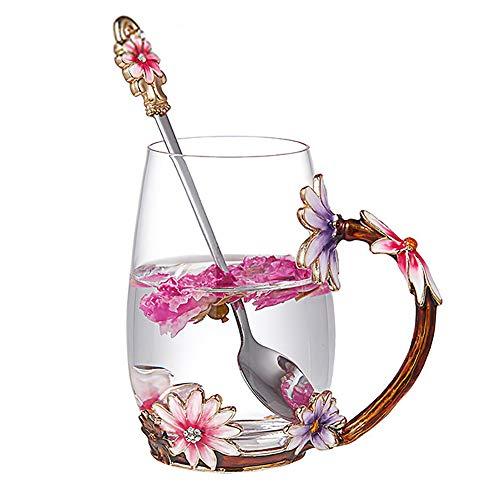 Evecase Smalti Fiore di farfalla Tazze da caffè in vetro Tazza da tè con cucchiaio in acciaio e confezione regalo, idee regalo donna san valentino Moglie Mamma Compleanno Festa della mamma