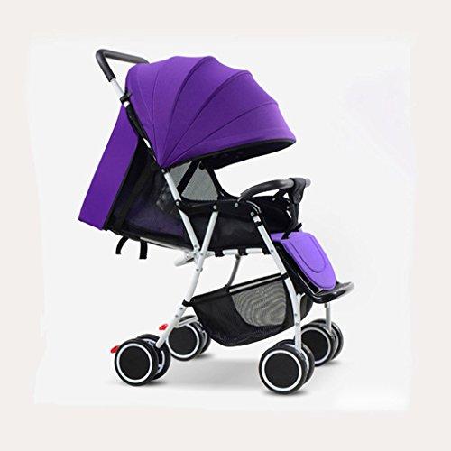 JIAO Carrito de bebé Cochecito de bebé Cochecito de bebé multifunción Plegable Ultra-Ligero Puede Sentarse Carrito de los niños de Verano reclinables (Color : Purple)