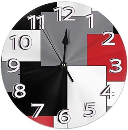 NA White Grey Black and Red Irregular Geometric Wall Clock Waterproof Decorative Clocks Durable product image