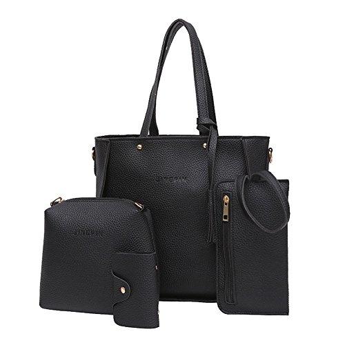 Bangle009 Handtaschen-Set für Damen, mit Quasten, 4 Stück Cross-Body-Bags Schwarz