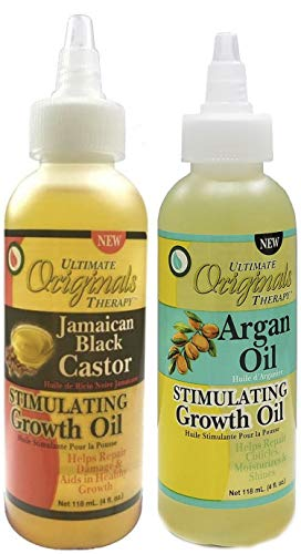 Africa\'s Best Ultimate Originals stimulierendes jamacianisches schwarzes Rizinus-Wachstumsöl, 118 ml, mit stimulierendem Argan-Wachstumsöl, 118 ml, 2 Stück