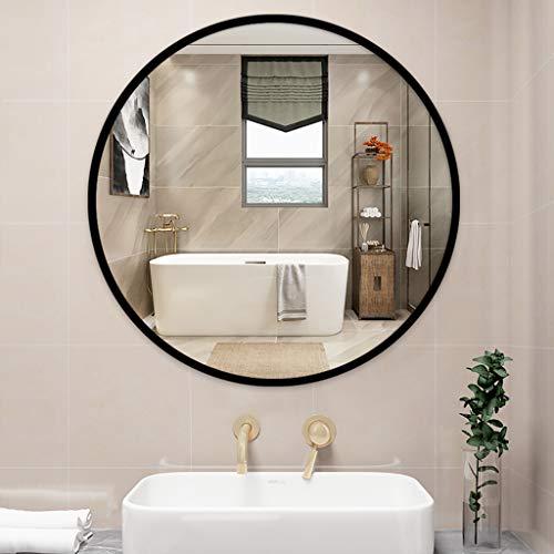Schwarzer runder Wandspiegel, Rustikaler Akzentspiegel, Gestrichener Metallrahmen, für Schlafzimmer, Badezimmer, Wohnzimmer, Eingangsbereich, Wanddekoration, Waschtisch