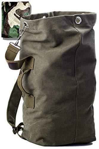 KIRIRU【ドカッと入る】 メンズ リュック 帆布 [ 防水 レインカバー 付属/大開口式 バックパック ]キャンバス シンプル 大容量 ミリタリー アウトドア [ 20L 30L グリーン ベージュ ダークネイビー 3色 ] (グリーン(雨カバー迷彩), M)