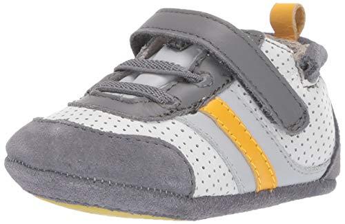 Robeez Boys' Low Top Sneaker-Mini Shoez Crib Shoe, Grey/Yellow, 12-18 Months