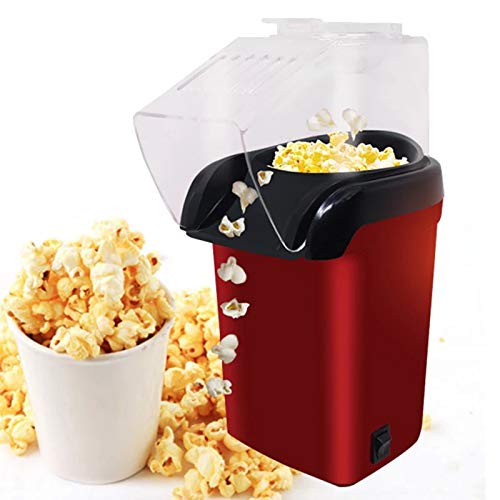 GL-GDD Hot Air Popcorn Popper, 1200W Electric Popcorn Maker with Measuring Cup, Lid Removable DIY Your Own Taste Healthy Oil-Free for Home Use, Party,Red