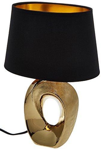 Reality Leuchten Taba R50511079 Tischleuchte, Keramik, Stoffschirm Schwarz / Goldfarbig