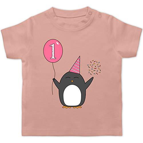 Geburtstag Geschenk für Babys - 1.Geburtstag - Baby - Rosa - Pinguin - Ballon - Konfetti - 12/18 Monate - Babyrosa - 1.Geburtstag mädchen - BZ02 - - Baby Jungen Mädchen T-Shirt Babies