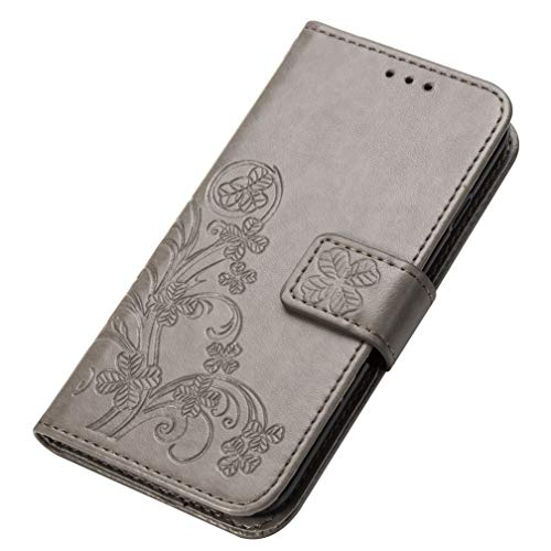 KERUN Hülle für Samsung Galaxy A21s, Kleemuster Geprägtem PU Leder Handyhülle, Magnetische Filp Schutzhülle mit Kartensteckplätzen/Standfunktion.Grau