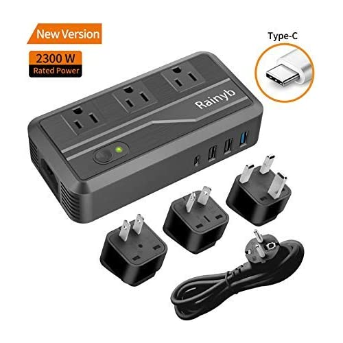 Rainyb Power Converters 2300-Watt Step Down 220V to 110V Voltage Converter & International Travel