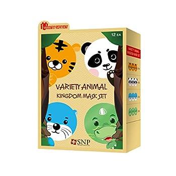 SNP Animal Character Korean Face Sheet Mask Skincare Kingdom Set Sheet Masks for Soothing Moisturizing Brightening & Nourishing Korean Beauty Skincare Mask -For All Skin Types Pack of 10