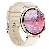 QFSLR Smartwatch, Reloj Inteligente con Ciclo Menstrual Femenino Monitor De Frecuencia Cardíaca Monitor De Presión Arterial Actividad Inteligente, Regalo De Cumpleaños Android E iOS,Gold e