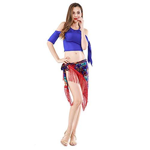ROYAL SMEELA Bauchtanz Tops Hüften-Schals für Frauen Bauchtanz Outfit Flamenco Stammesvolk Stil Schulterfrei Halfter Crop Tops Pailletten Quaste Velvet Floral Dreieck Hüfttuch