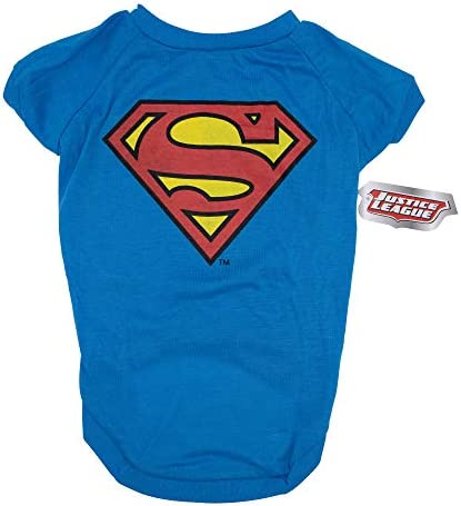DC Comics for Dogs Superman Logo Dog Tee X Small Royal Blue White product image
