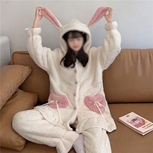 SCDZS Conjunto de pijama de franela para mujer Kawaii de felpa, con orejas de conejo, manga larga, forro polar, cálido, de dos piezas, para dormir en casa o estar en casa (color: B)