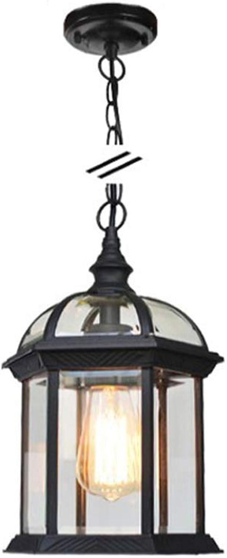 ZYY Outdoor-Kronleuchter Garten Hof Lampe Auenansicht Traube Wasserdicht E27 Deckenpendelleuchte Vogelkfig Hngelampe American Retro Vintage Classic Pendelleuchte (Farbe  Schwarz-L-Kronleuchter)