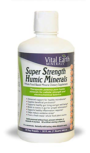 Vital Earth Minerals Super Strength Humic Minerals - 32 Fl. Oz.- 1 Month Supply - Vegan Liquid Therapeutic Strength Trace Multimineral Supplement - Whole Food Plant-Based Ionic Minerals