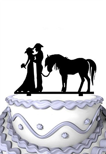 Meijiafei Cowgirl and Cowboy Bride and Groom Wedding Cake Topper with Horse