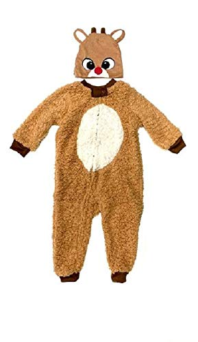 Baby Rudolph The Red Nosed Reindeer Pajama Onesie with Beanie Size 3T Brown
