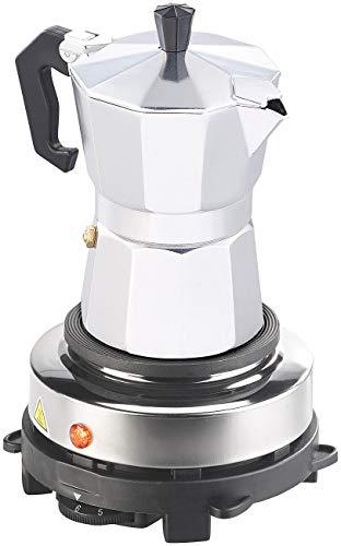 Rosenstein & Söhne Espresso Herdplatte: Elektrische Mini-Einzel-Kochplatte & Espresso-Kocher, 500 W, 3 Tassen (Kochplatte für Espressokocher)