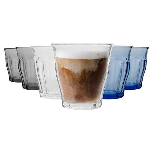 DURALEX 6 pièces Picardie Potable Tumbler Verres Set - Gobelets en Verre trempé pour l'eau, jus, Whisky - 3 Couleurs - 250ml