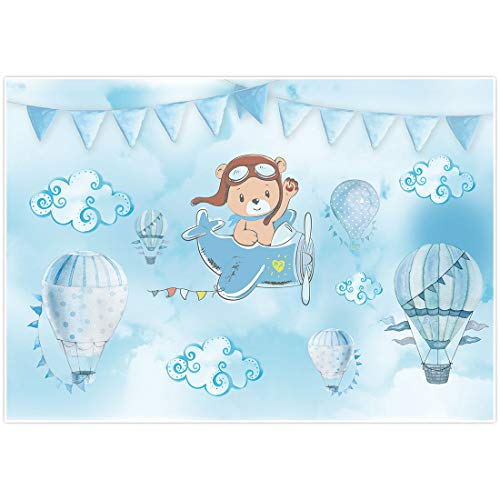 Allenjoy Blue Cartoon Bear Baby Shower Backdrop It's a Boy Prince Welcome Baby Hot Air Balloons Photography Background Cake Table Banner Decor Photo Booth Props 7x5ft