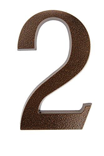 HUBER Hausnummer Nr. 2 Aluminium pulverbeschichtet kupfer antike 20 cm, edles dreidimensionales Design