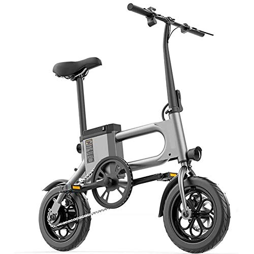 D&XQX 350W Folding Elektro-Fahrrad, 36V-Lithium-Batterie Adult Mini Tretroller 12-Zoll-tragende 150kg Bremsweg Pendler Scooters,Grau