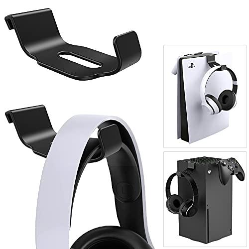 [2 Pièces] Benazcap Porte-Casse pour Casque PS5 /Xbox /XS, Poids léger Support pour Casque/Manette, Stand Qui Peut Accrocher des Accessoires Jeux sur la Console PS5 /Xbox, Noir