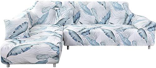 SearchI Funda para sofá con chaise longue elástica chaise longue, funda de sofá angular antideslizante universal, funda para sofá de poliéster en forma de L 2 plazas + 3 plazas