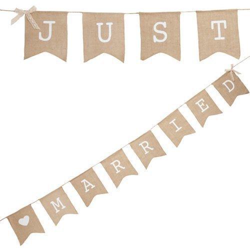 "Musuntas Girlande Leinen Wimpel-kette ""Just Married"