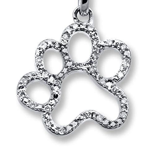 OUTLETISSIMO® Collar cadena colgante huella gato gato estilizado con circonitas perro perro UA15