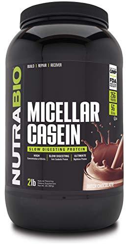 NutraBio Micellar Casein - Protein Powder, 2 lbs Dutch Chocolate