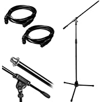 Monoprice Professional Microphone Stand with Boom and (2) Deco Gear 10ft XLR Cables Bundle