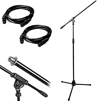 Monoprice Professional Microphone Stand w/ Boom & 10ft XLR Cables Bundle