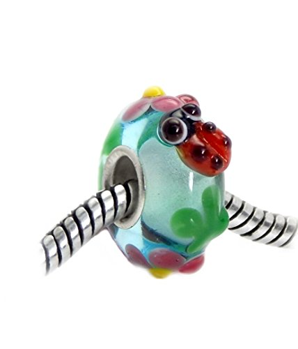 Price comparison product image J&M 3D Handmade Spring Ladybug and Flowers Murano Glass Charm Bead for Bracelets