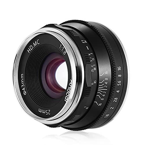 Lente, Lente de foco manual 25mm F1.8 Lente de câmera sem espelho de grande abertura Lente E-Mount Compatível com Sony APS-C Frame ILDC Câmera A6600 A6100 A6400 A6500 A6300 A6000 5100 A77II